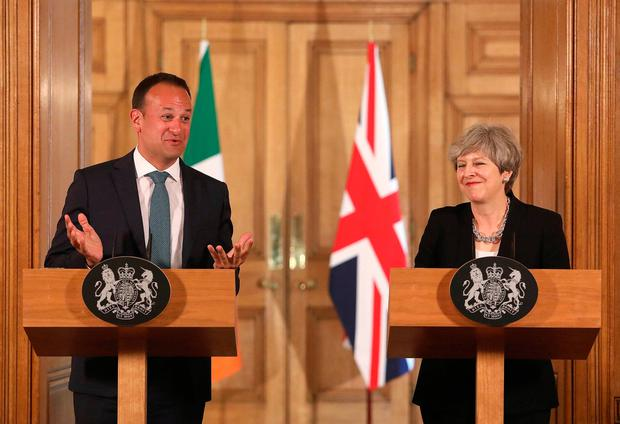Britain's Prime Minister Theresa May and Ireland's Taoiseach Leo Varadkar attend a joint press conference following a meeting at 10 Downing Street, London June 19, 2017. REUTERS/Philip Toscano/Pool