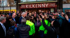 Ex-US president Bill Clinton visiting the Kilkenny Shop on Dublin's Nassau Street this year. Photo: Doug O'Connor;