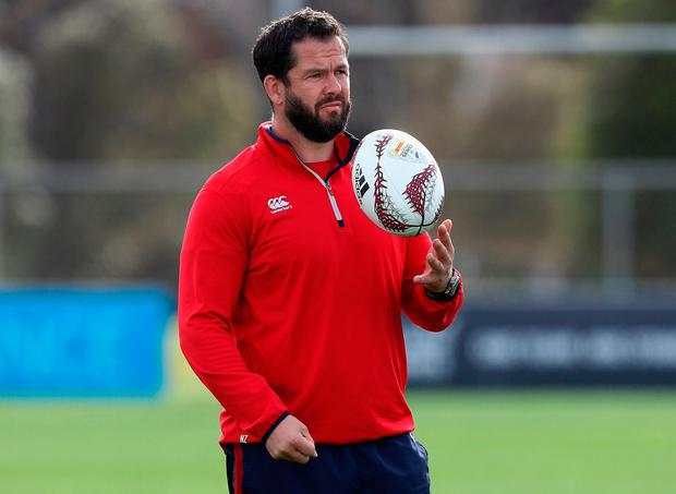 Andy Farrell, the Lions defence coach looks on during the British & Irish Lions training session at Beetham Park. Photo: Getty Images