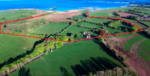 A panoramic view of the 42ac farm for sale at Dysart on Lough Ennell near Mullingar