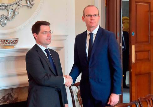 Northern Ireland Secretary of State James Brokenshire with Irish Foreign Minister Simon Coveney. Photo: PA