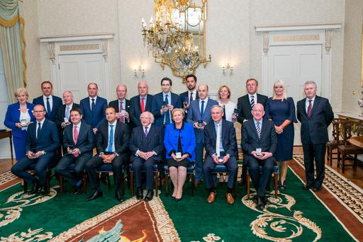Taoiseach Leo Varadkar with his newly-appointed Cabinet at Áras an Uachtaráin – but the new Cabinet closely resembles the old one. Photo: Kyran O'Brien