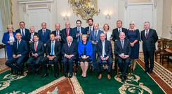 Taoiseach Leo Varadkar with his Cabinet at Áras an Uachtaráin Photo: Kyran O'Brien