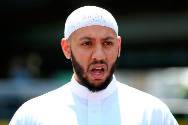 Mohammed Mahmoud, an Imam at Finsbury Park Mosque, gives a statement to the media at a police cordon in the Finsbury Park area of north London on June 19, 2017, following a vehicle attack on pedestrians. AFP PHOTO / Isabel INFANTESISABEL INFANTES/AFP/Getty Images