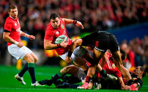 Robbie Henshaw of the British & Irish Lions is tackled by Solomon Alaimalo of the Chiefs during the match between the Chiefs and the British & Irish Lions at FMG Stadium in Hamilton, New Zealand. Photo by Stephen McCarthy/Sportsfile