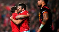 Jared Payne is congratulated by his British and Irish Lions team-mate Greig Laidlaw, left, after scoring his side's fourth try during the match between the Chiefs and the British & Irish Lions at FMG Stadium in Hamilton, New Zealand. Photo by Stephen McCarthy/Sportsfile