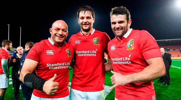 Ulster players representing the British and Irish Lions, from left, Rory Best, Iain Henderson and Jared Payne following the match between the Chiefs and the British & Irish Lions at FMG Stadium in Hamilton, New Zealand. Photo by Stephen McCarthy/Sportsfile