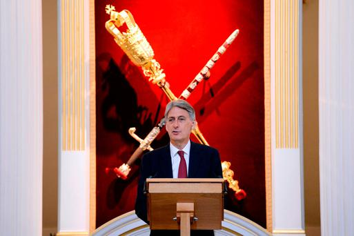 Chancellor of the Exchequer Philip Hammond delivers keynote speech to City leaders at Mansion House in the City of London Credit: Stefan Rousseau/PA Wire