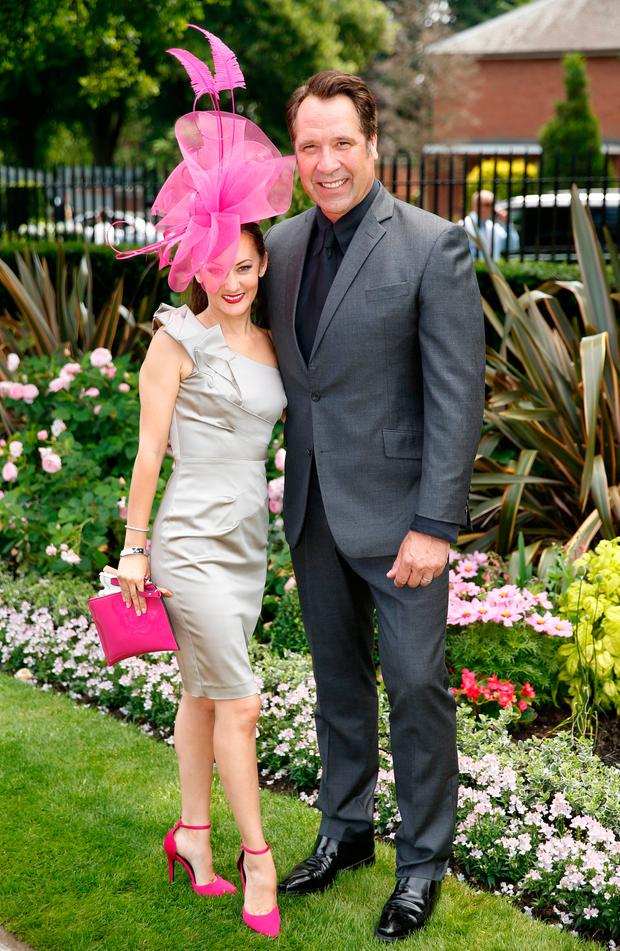 David Seaman poses with wife Frankie Poultney at Royal Ascot. Picture: Reuters / Matthew Childs Livepic