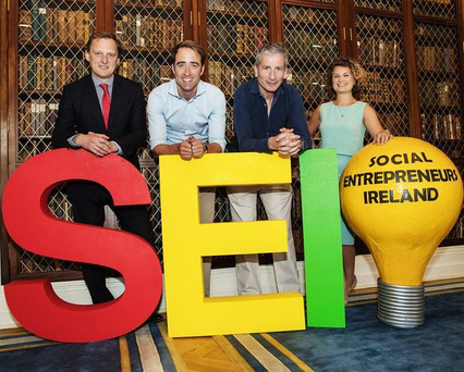 John Barcroft of DCC and Maurice Mason of Agfe with Darren Ryan and Jane Feighery of Social Entrepreneurs Ireland at the Royal College of Physicians in Dublin – part of the judging panels for the Social Entrepreneurs Ireland Awards 2017