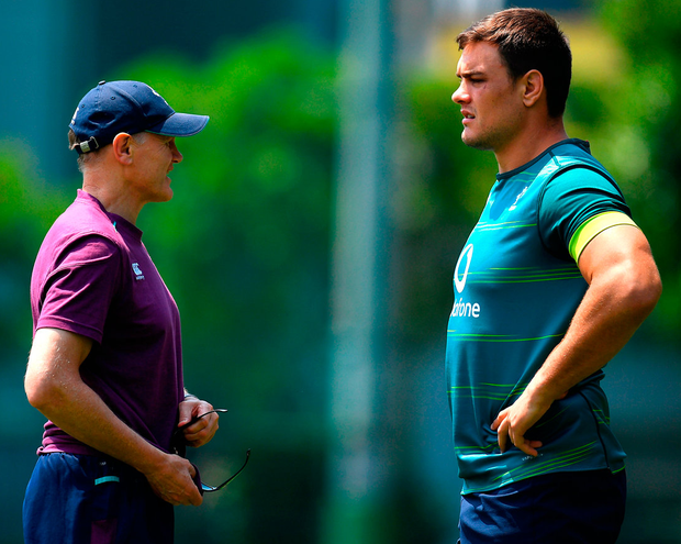 Ireland head coach Joe Schmidt with Quinn Roux during squad training at Ichikawa City, Chiba, Japan. Photo: Sportsfile