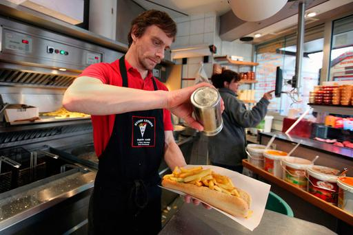 A regional Belgian minister recently alarmed the nation with warnings that the EU would force fries to be blanched before they hit the fat to remove cancer-causing elements. The EU reported yesterday that it had no intention whatsoever of banning Belgian fries. Photo: AP
