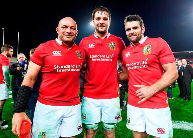 Rory Best celebrating with Ulster team-mates Jared Payne and Iain Henderson. Photo: Stephen McCarthy/Sportsfile