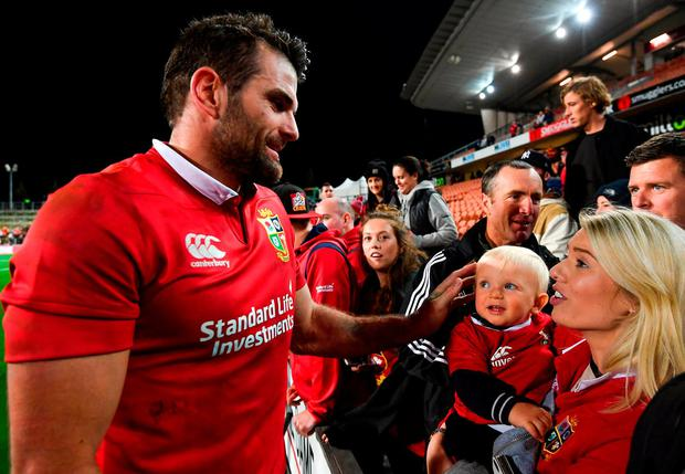 Jared Payne with his fiance Christina Beattie and 11-month-old son Jake. Photo: Stephen McCarthy/Sportsfile