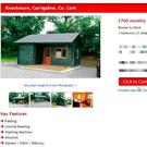 The online advert for log cabins for rent at €700 per month