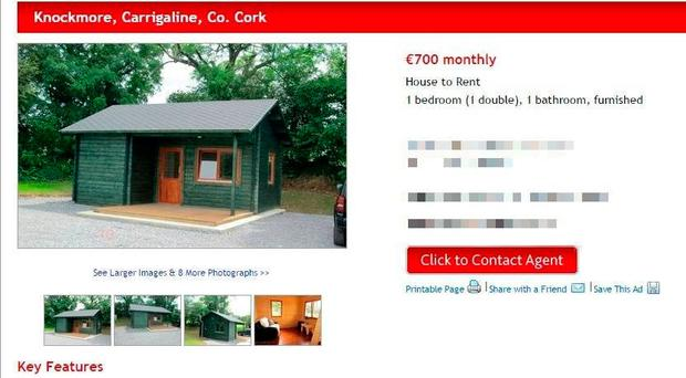 An advertisement for €700-a-month log cabins has been removed after a backlash.