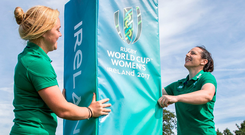 Ireland's Paula Fitzpatrick and Cliona Maloney marking 50 days to go to the kick-off of the Women's Rugby World Cup yesterday. Photo: ©INPHO/Gary Carr