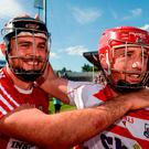 Christopher Joyce and Anthony Nash celebrate Cork's victory over Waterford but, once again, much of the focus has been on the weaknesses of their opposition. Photo by Piaras Ó Mídheach/Sportsfile