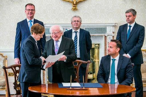 Maire Whelan pictured at her Appointment as a Judge with President Michael D Higgins and An Taoiseach Leo Varadkar also pictured is back left Sec Gen to the President Art O'Leary Attorney General Seamus Woulfe and Sec Gen to the Government Martin Fraser in Aras an Uachtarain. Photo: Kyran O'Brien