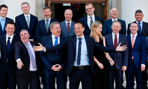 Taoiseach Leo Varadkar in jovial spirits as he unveils his new Junior Cabinet at Government Buildings. Photo: Steve Humphreys
