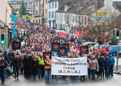 A protest march took place in Waterford city last January against the lack of cardiac services at Waterford University Hospital. Photo: Patrick Browne.