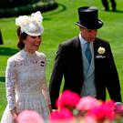 Kate, the Duchess of Cambridge, and Prince William, Duke of Cambridge, during day one of Royal Ascot at Ascot Racecourse
