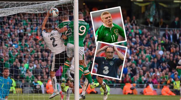 Shane Duffy's goal was disallowed against Austria and (inset) James McClean and Martin O'Neill