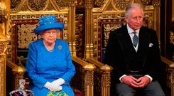 Queen Elizabeth II and the Prince of Wales during the State Opening of Parliament by Queen Elizabeth II, in the House of Lords at the Palace of Westminster in London: Stefan Rousseau/PA Wire