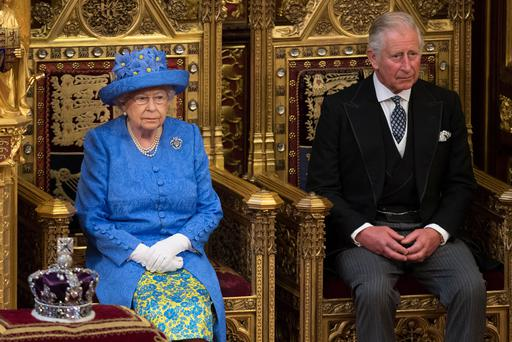 Britain's Queen Elizabeth sits next to Prince Charles during the State Opening of Parliament in central London, Britain June 21, 2017. REUTERS/Stefan Rousseau/Pool