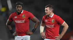 Peter O'Mahony, right, and Maro Itoje of the British & Irish Lions during the match between Auckland Blues and the British & Irish Lions at Eden Park in Auckland, New Zealand. (Photo By Stephen McCarthy/Sportsfile via Getty Images)