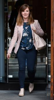 Ciara Tobin, mother of Kevin Tobin, from Castleknock, Dublin pictured leaving the Four Courts after the High Court approved a settlement offer of €41,000 damages on behalf of Kevin. Photo: Collins Courts