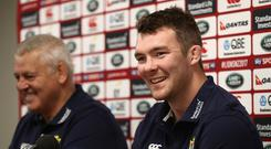 Peter O'Mahony (R) who will captain the Lions against the Maori faces the media alongside head coach Warren Gatland during the British & Irish Lions media session on June 15, 2017 in Rotorua, New Zealand. (Photo by David Rogers/Getty Images)