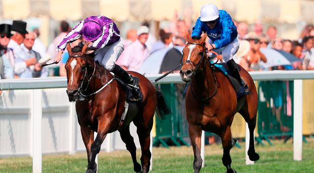 Highland Reel and Ryan Moore power away from the field in the Prince of Wales' Stakes. Photo credit: Brian Lawless/PA Wire.