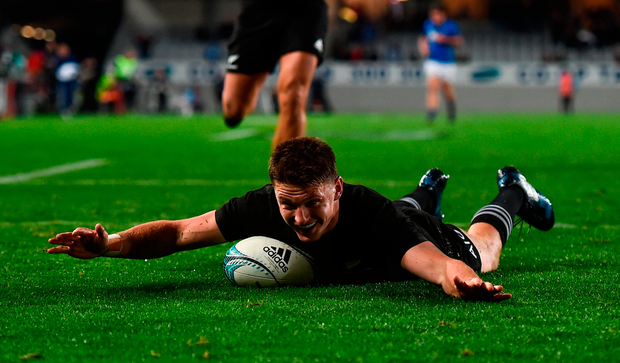 Beauden Barrett of New Zealand goes over during against Samoa at the International Test at Eden Park last year. Photo: Sportsfile
