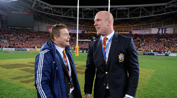 Brian O'Driscoll, left, and Paul O'Connell, British & Irish Lions, following their side's victory. British & Irish Lions Tour 2013, 3rd Test, Australia v British & Irish Lions. ANZ Stadium, Sydney Olympic Park, Sydney, Australia. Picture credit: Stephen McCarthy / SPORTSFILE
