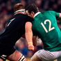 Ireland's Robbie Henshaw is tackled by Sam Cane during New Zealand's victory over Ireland last year and the All Blacks are likely to be similarly aggressive when facing the Lions on Saturday. Photo: Sportsfile
