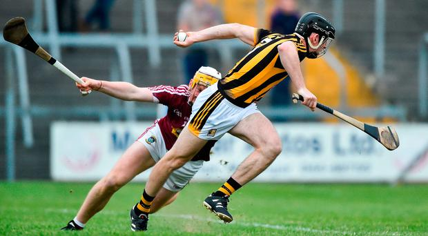 Conor Delaney of Kilkenny in action against Niall Mitchell of Westmeath. Photo by David Maher/Sportsfile