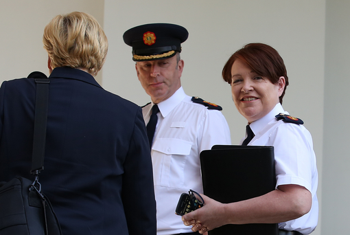 Garda Commissioner Nóirín O'Sullivan and Deputy Commissioner John Twomey arriving at the Public Accounts Committee. Photo: Tom Burke
