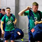 John Cooney, left, and Josh van der Flier of Ireland arrive ahead of the international rugby match between Japan and Ireland at the Shizuoka Epoca Stadium in Fukuroi, Shizuoka Prefecture, Japan. Photo by Brendan Moran/Sportsfile