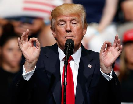 President Donald Trump speaks during a rally, Wednesday, June 21, 2017, in Cedar Rapids, Iowa. (AP Photo/Charlie Neibergall)