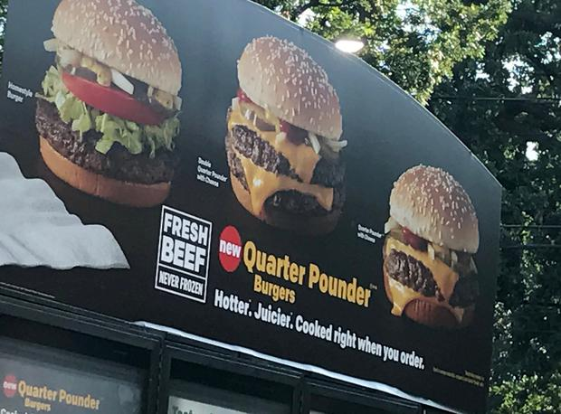 A sign advertising hamburgers made with fresh beef is seen at a McDonald's restaurant in Dallas, Texas, U.S. April 18, 2017. Picture taken April 18, 2017. REUTERS/Liz Hampton