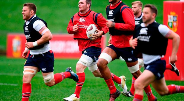22 June 2017; Peter O'Mahony, centre, during a British and Irish Lions training session at QBE Stadium in Auckland, New Zealand. Photo by Stephen McCarthy/Sportsfile