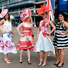 Lindsay Healy, (R - L) Christine Walkin, Cara Palmer and Anna Perry from Leeds during day three of Royal Ascot at Ascot Racecourse. Photo credit: John Walton/PA Wire. RESTRICTIONS: Use subject to restrictions.