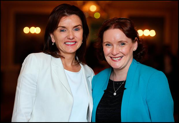 Attending the WXN Leadership Summit at the Intercontinental Hotel in Ballsbridge was from left Ciara Fitzpatrick and Amanda Kirk both from Enterprise Ireland . Pic Steve Humphreys 22nd June 2017