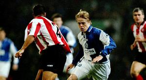 Damien Duff of Blackburn Rovers in action during the FA Carling Premiership match against Southampton played at Ewood Park in Blackburn, England. The match finished in a 0-2 win for the visitors Southampton. \ Mandatory Credit: Phil Cole /Allsport