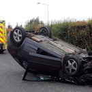 Car crash on Dublin's Navan Road. Picture: @DubFireBrigade