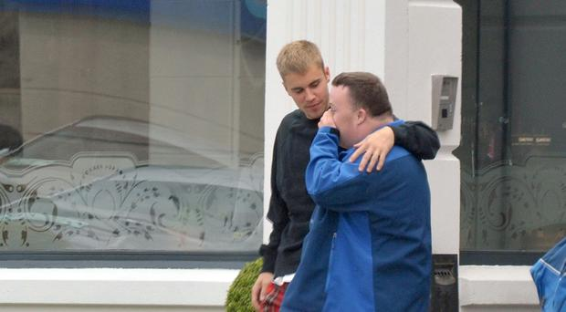 Justin Bieber meets with Celbridge local Mark Smith today in Maynooth. Photo: John Dardis