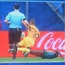The Video Assistant Referee review Cameroon defender Ernest Mabouka's challenge on Australia's Alex Gerbasch in which the Socceroos defender was awarded a penalty.