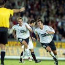 Roar Strand jubilating after scoring 3-0 for Rosenborg in a Champions League qualifying match against Bohemians, Ireland, in Trondheim, Central Norway August 6th. 2003. AFP PHOTO SCANPIX KALLESTAD, GORM/AFP/Getty Images.