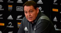 New Zealand All Blacks rugby coach Steve Hansen speaks to the media at a press conference in Auckland. Photo: AFP/Getty Images